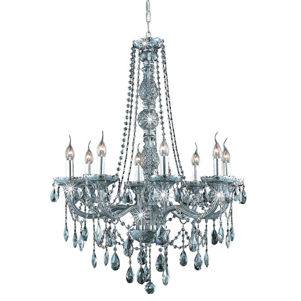 Elegant Lighting 8-Light Silver Shade Chandelier with Grey Crystal