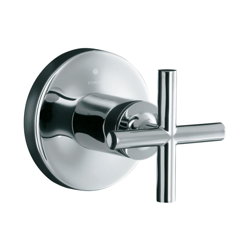 KOHLER Purist 1-Handle Transfer Valve Trim Kit in Polished Chrome with Cross Handle (Valve Not Included)