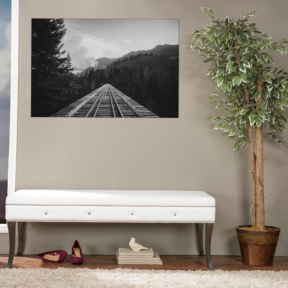 Aloisia Contemporary White Faux Leather Upholstered Bench