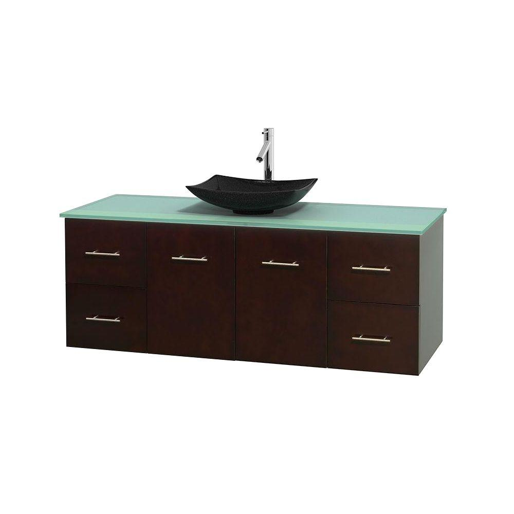 Wyndham Collection Centra 60 in. Vanity in Espresso with Glass Vanity