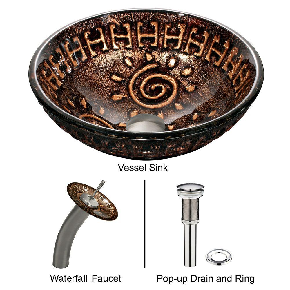 Vigo Glass Vessel Sink in Aztec and Waterfall Faucet Set in Brushed Nickel