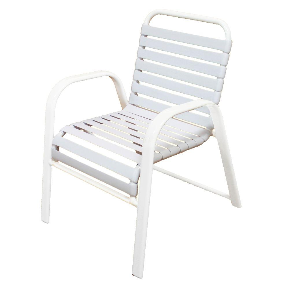 Marco Island White Commercial Grade Aluminum Patio Dining Chair With White  Vinyl Straps (2