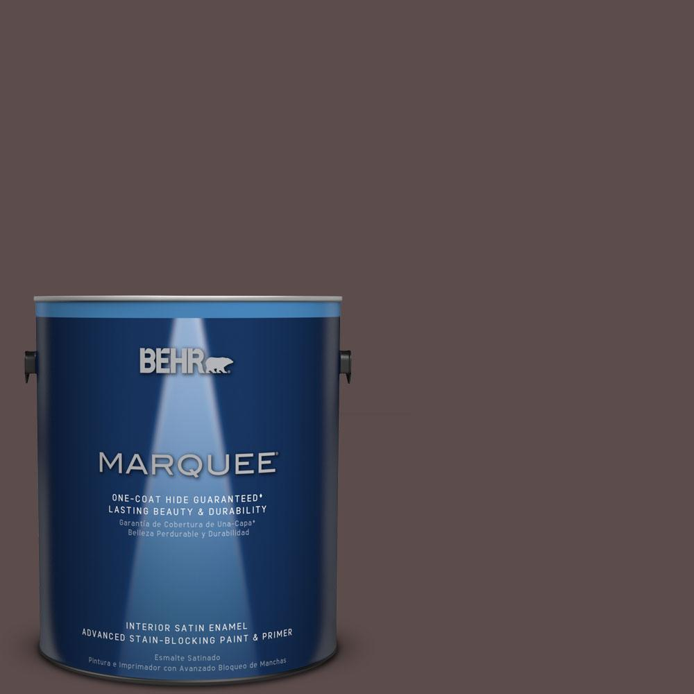1 gal. #MQ1-43 Piano Brown One-Coat Hide Satin Enamel Interior Paint