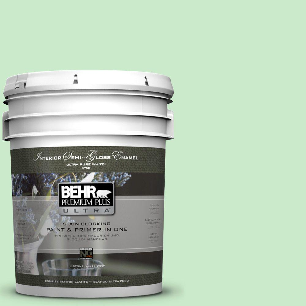 5-gal. #P390-2 Chilled Mint Semi-Gloss Enamel Interior Paint