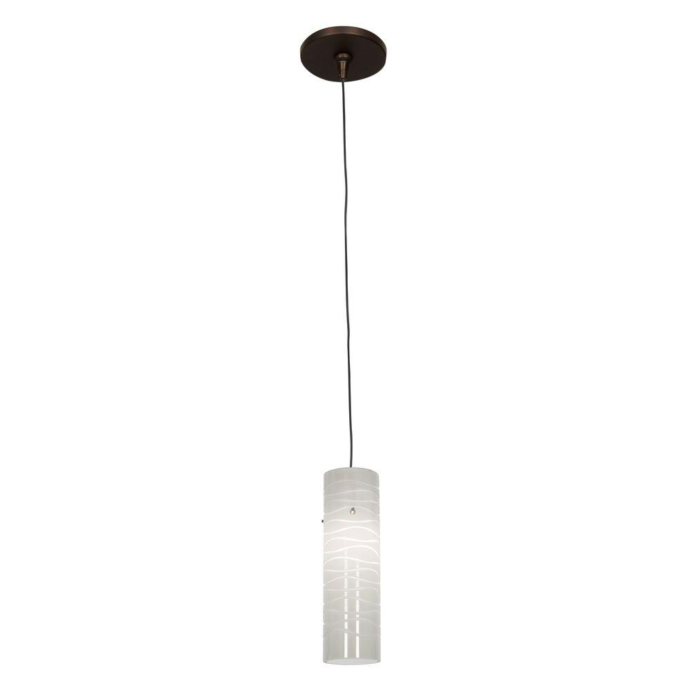 Access Lighting Zeta 1-Light Bronze Pendant with White Lined Glass