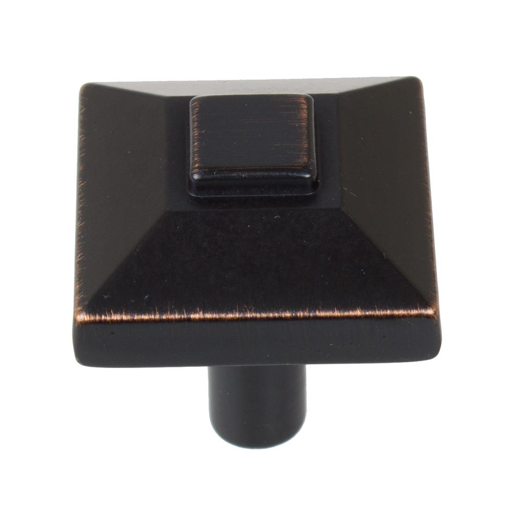 7/8 in. Oil Rubbed Bronze Square Pyramid Cabinet Knob (10-Pack)