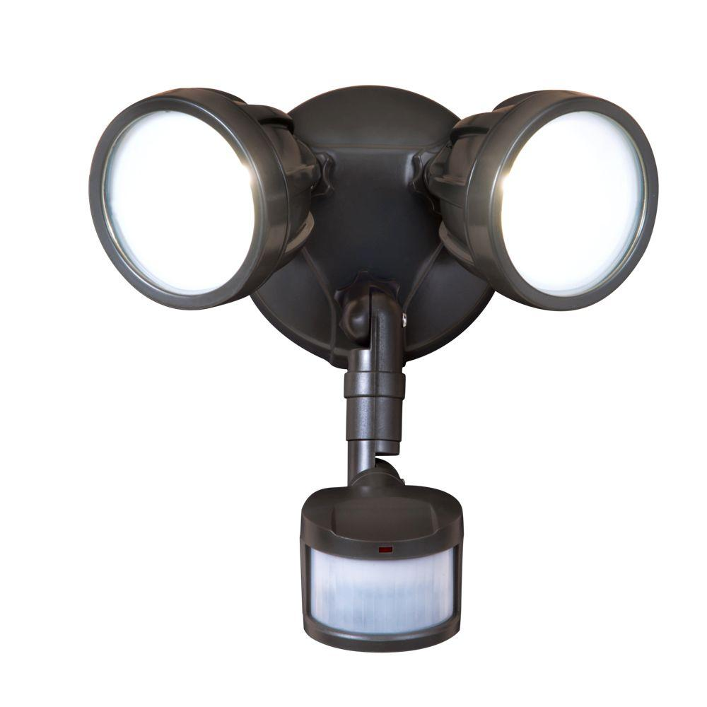 All Pro 180 Degree Bronze Outdoor Motion Activated Twin Head Round