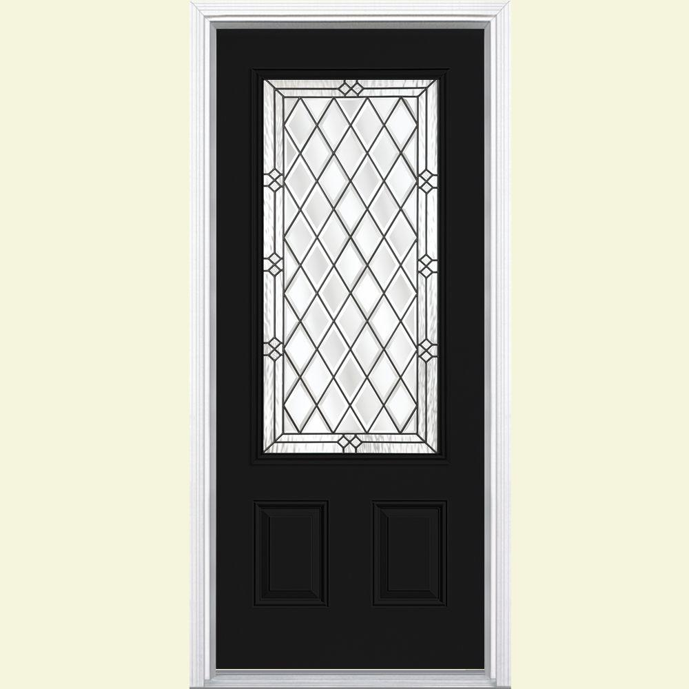 Masonite 36 in. x 80 in. Halifax 3/4 Rectangle Right-Hand Painted Smooth Fiberglass Prehung Front Door w/ Brickmold, Vinyl Frame