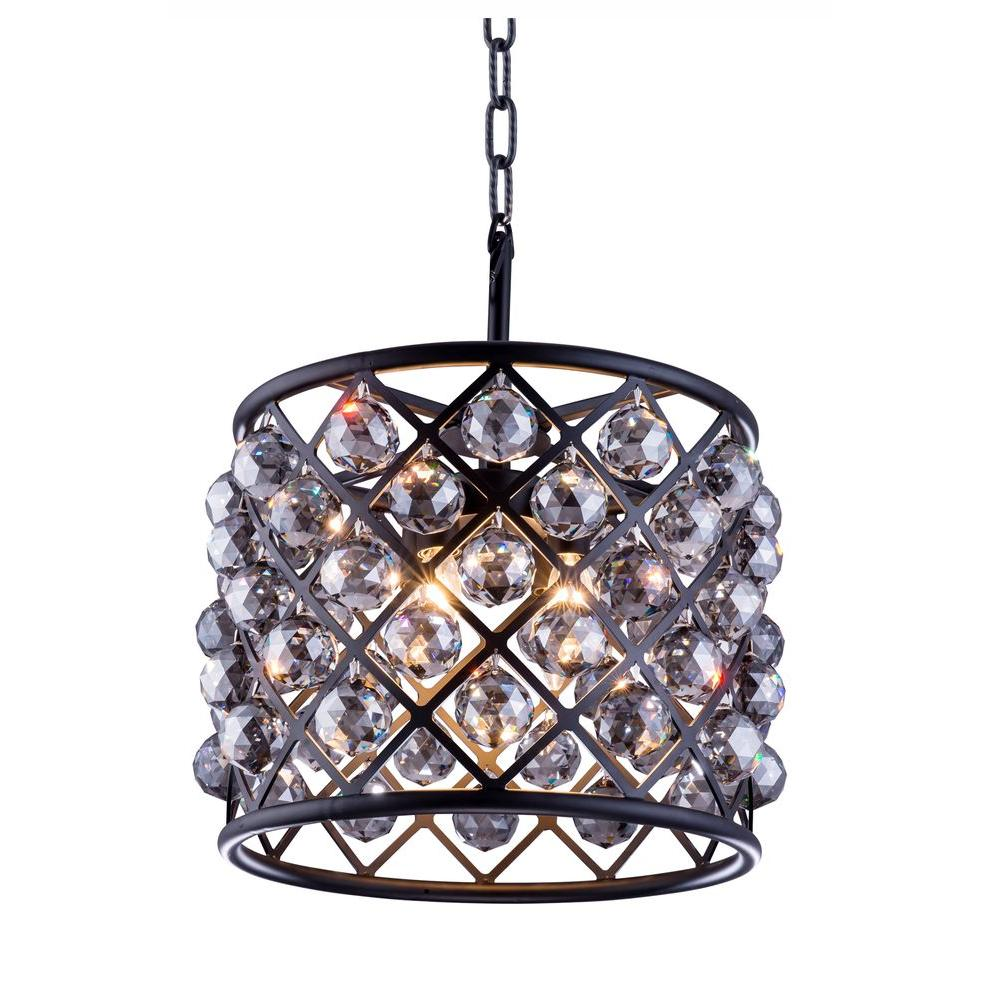 Madison 4-Light Mocha Brown Chandelier with Silver Shade Grey Crystal