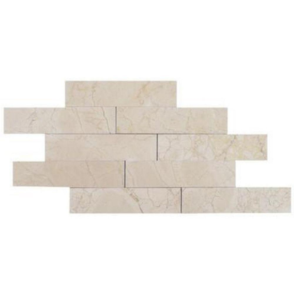 Brushed Crema Marfil Marble Mosaic Tile - 2 in. x 8