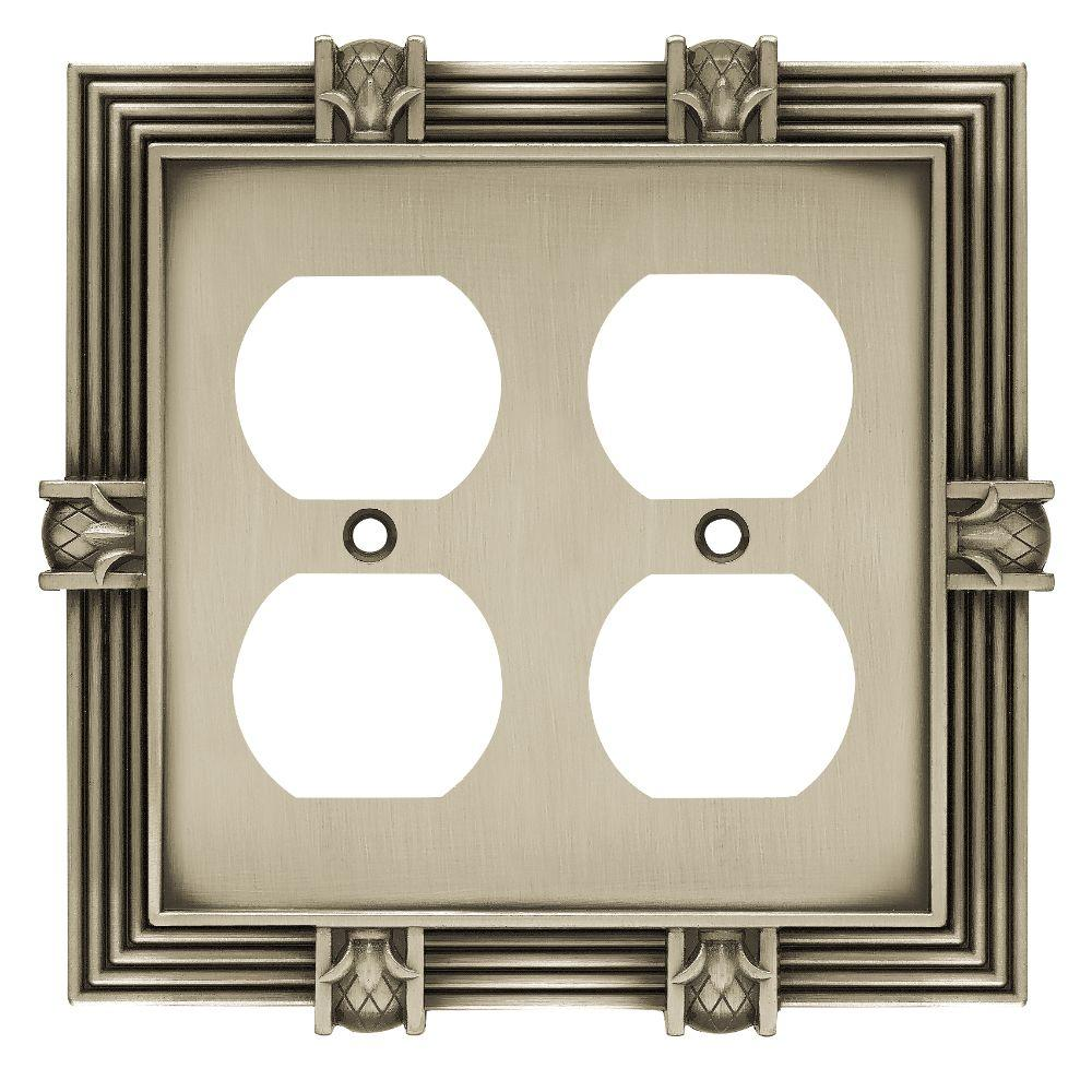 Liberty Pineapple 2 Duplex Outlet Wall Plate - Brushed Satin Pewter