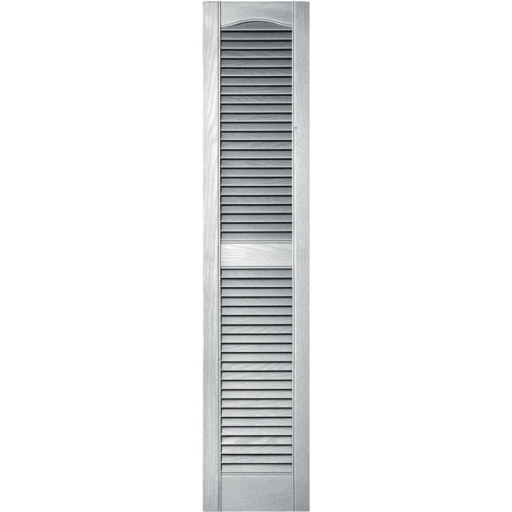 Builders Edge 12 in. x 55 in. Louvered Vinyl Exterior Shutters Pair in #117 Bright White
