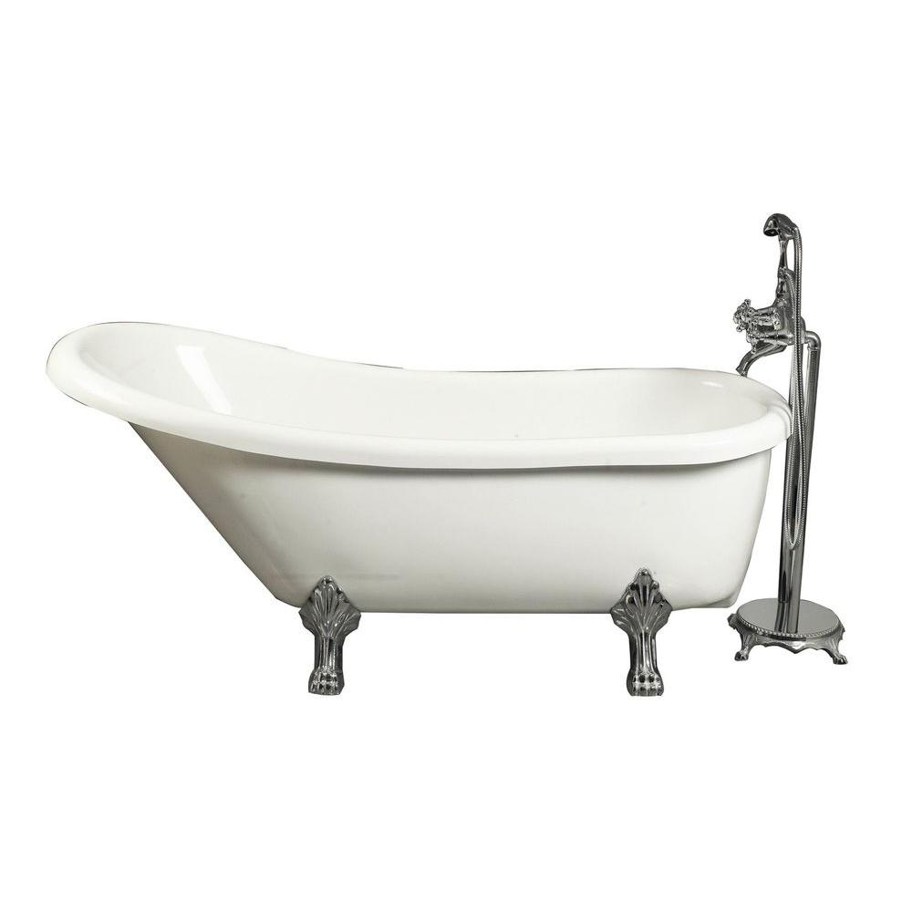 5.5 ft. Acrylic Claw Foot Slipper Tub in White with Floor-Mount
