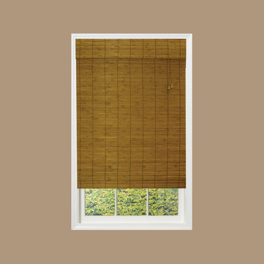 Caramel Simple Weave Flatstick Bamboo Roman Shade - 36 in. W