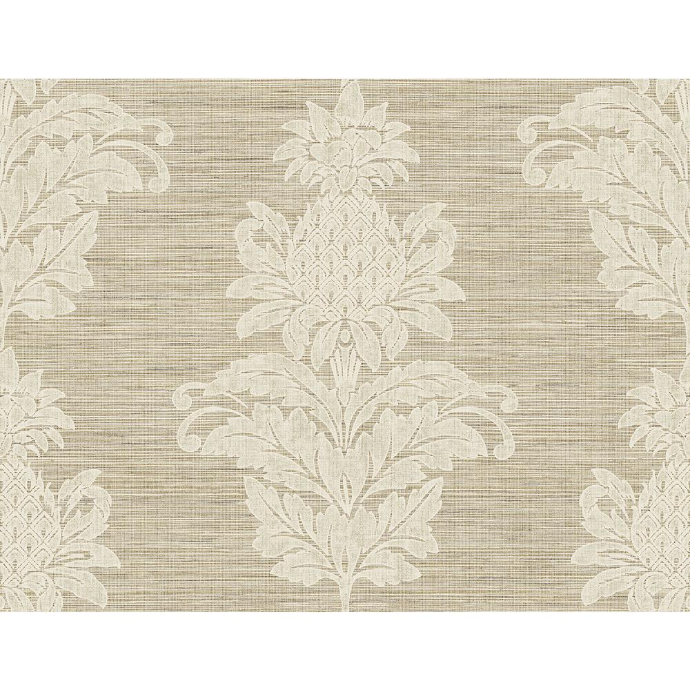 60.8 sq. ft. Pineapple Grove Brown Damask Wallpaper