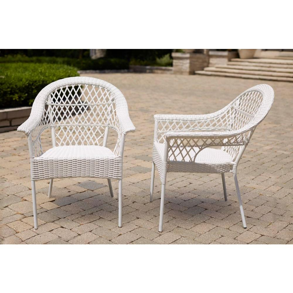 Hampton Bay White Stacking Patio Chair 2 Pack D9544 W2 The Home Depot