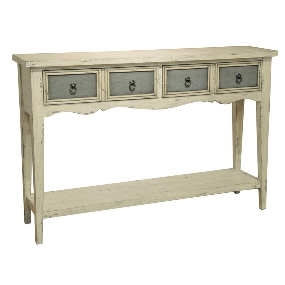 Antique White and Weathered Grey Storage Console Table