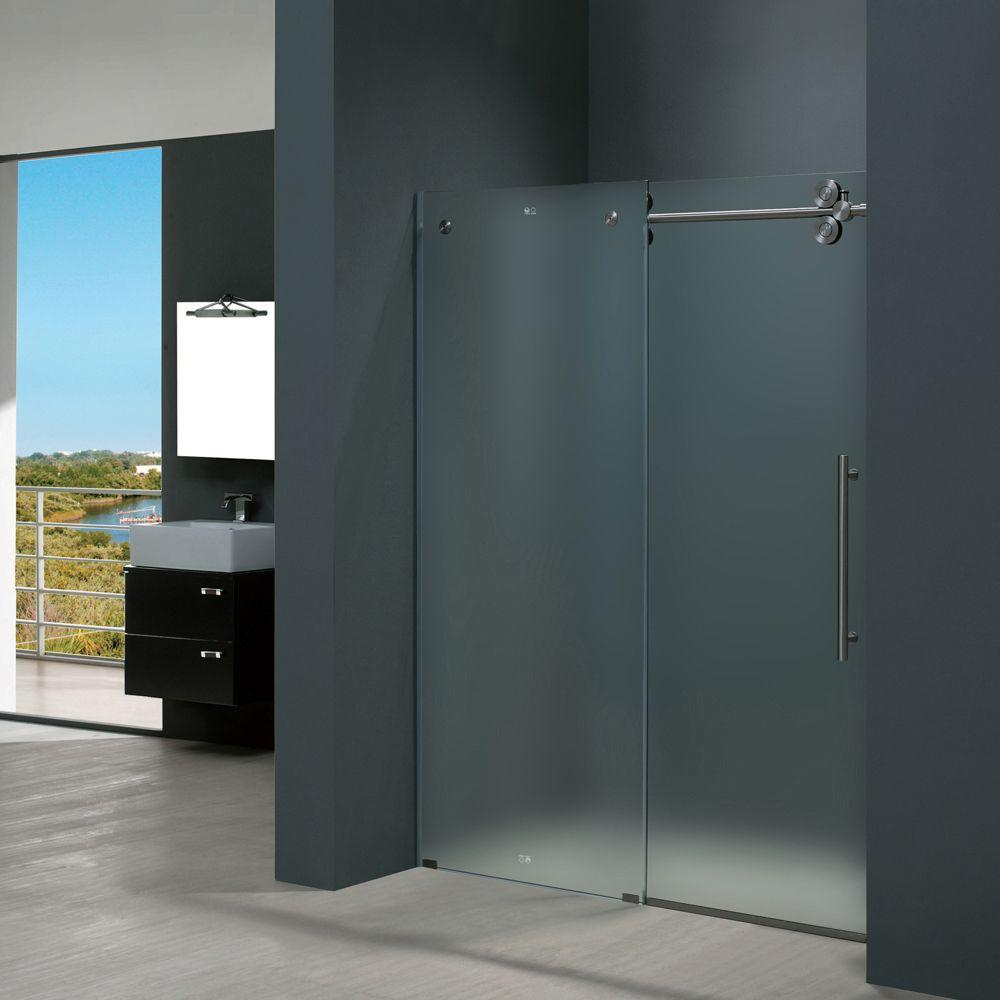 Elan 60 in. x 74 in. Frameless Bypass Shower Door in Stainless Steel with Frosted Glass