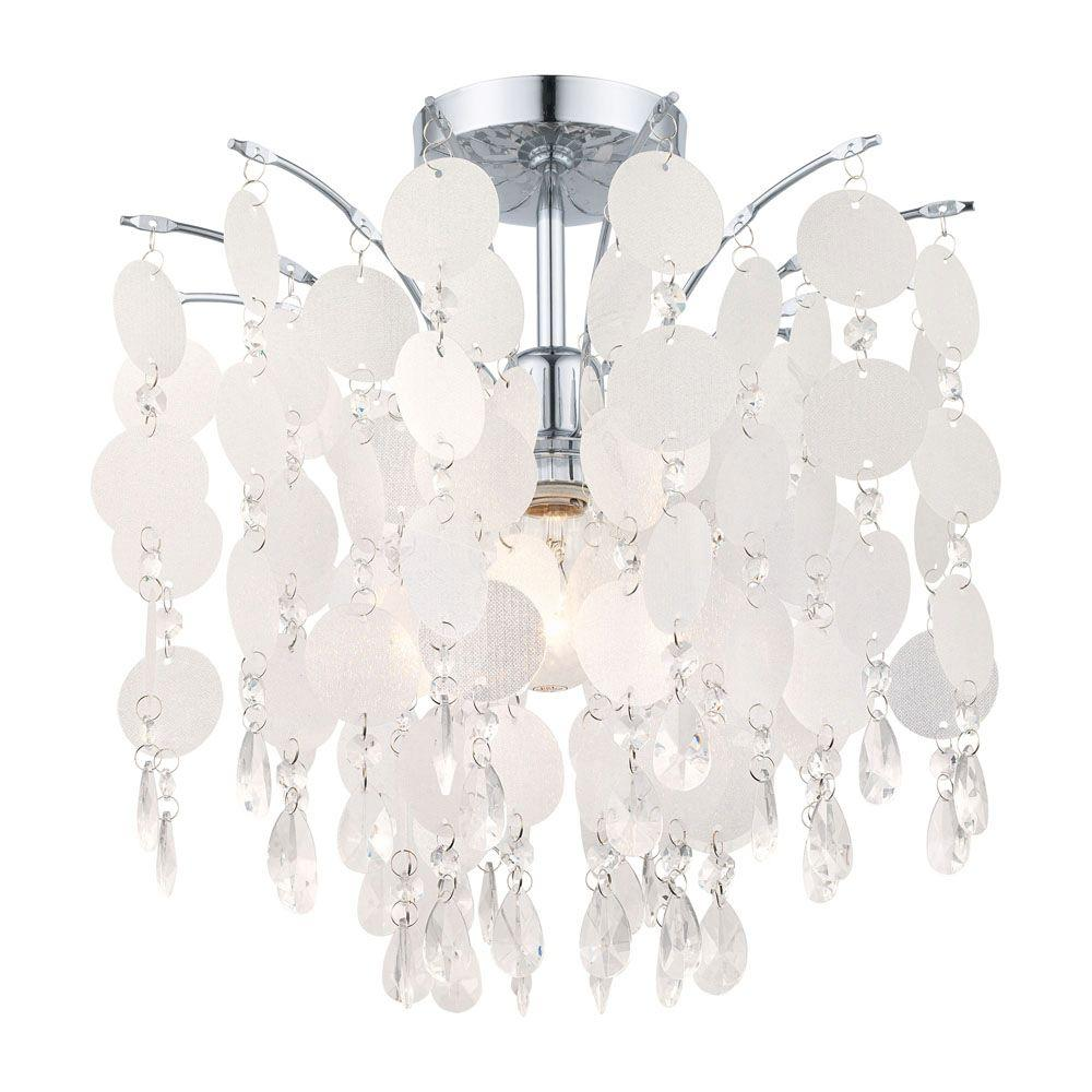 Eglo Fedra 1-Light Chrome and Crystal Large Pendant
