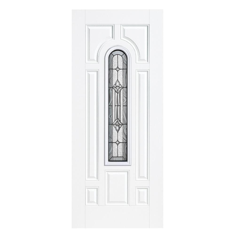 Masonite 36 in. x 80 in. Providence Center Arch Primed Smooth Fiberglass Prehung Front Door with No Brickmold