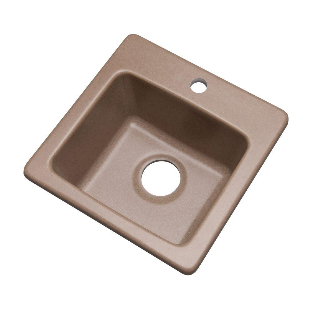 Westminster Dual Mount Composite Granite 16 in. 1-Hole Single Basin Bar