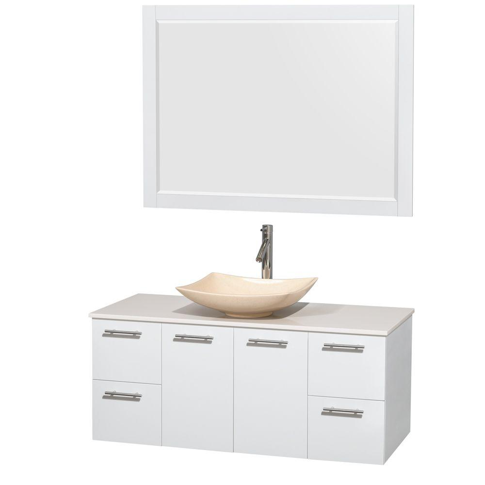 Wyndham Collection Amare 48 in. Vanity in Glossy White with Solid-Surface Vanity Top in White, Marble Sink and 46 in. Mirror