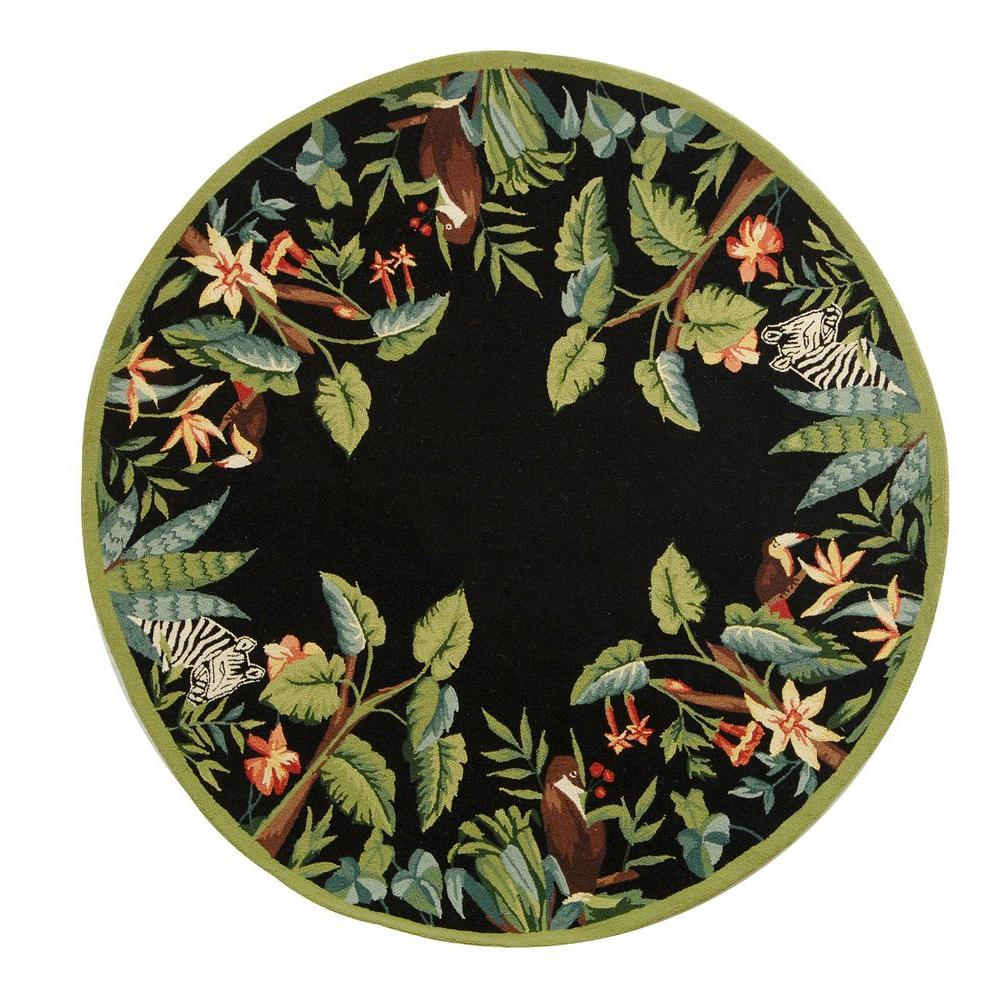 Safavieh Chelsea Black/Green 3 ft. Round Area Rug-HK295B-3R - The Home
