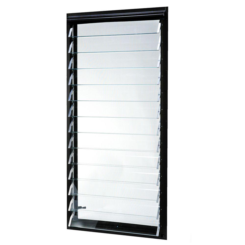 23 in. x 47.875 in. Jalousie Utility Louver Aluminum Window -