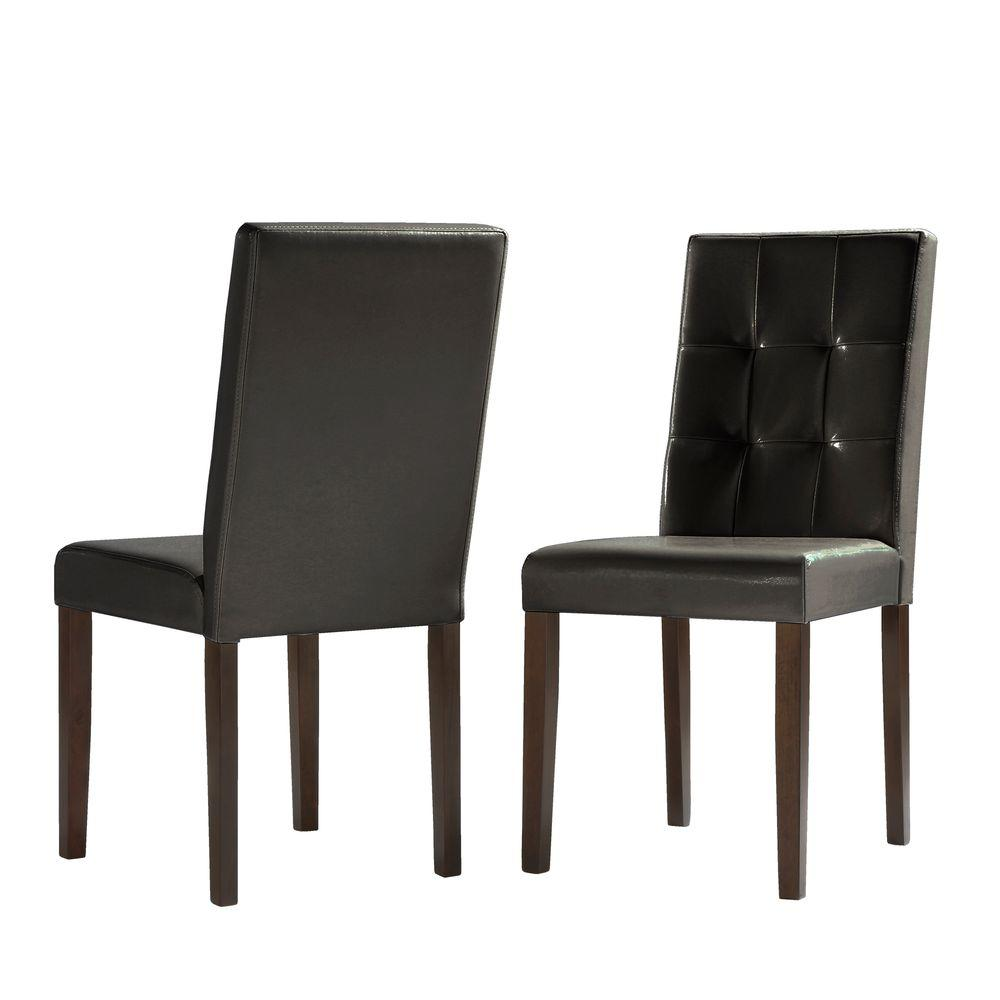 HomeSullivan Braemar Faux Leather Dining Chair in Rich Deep Brown