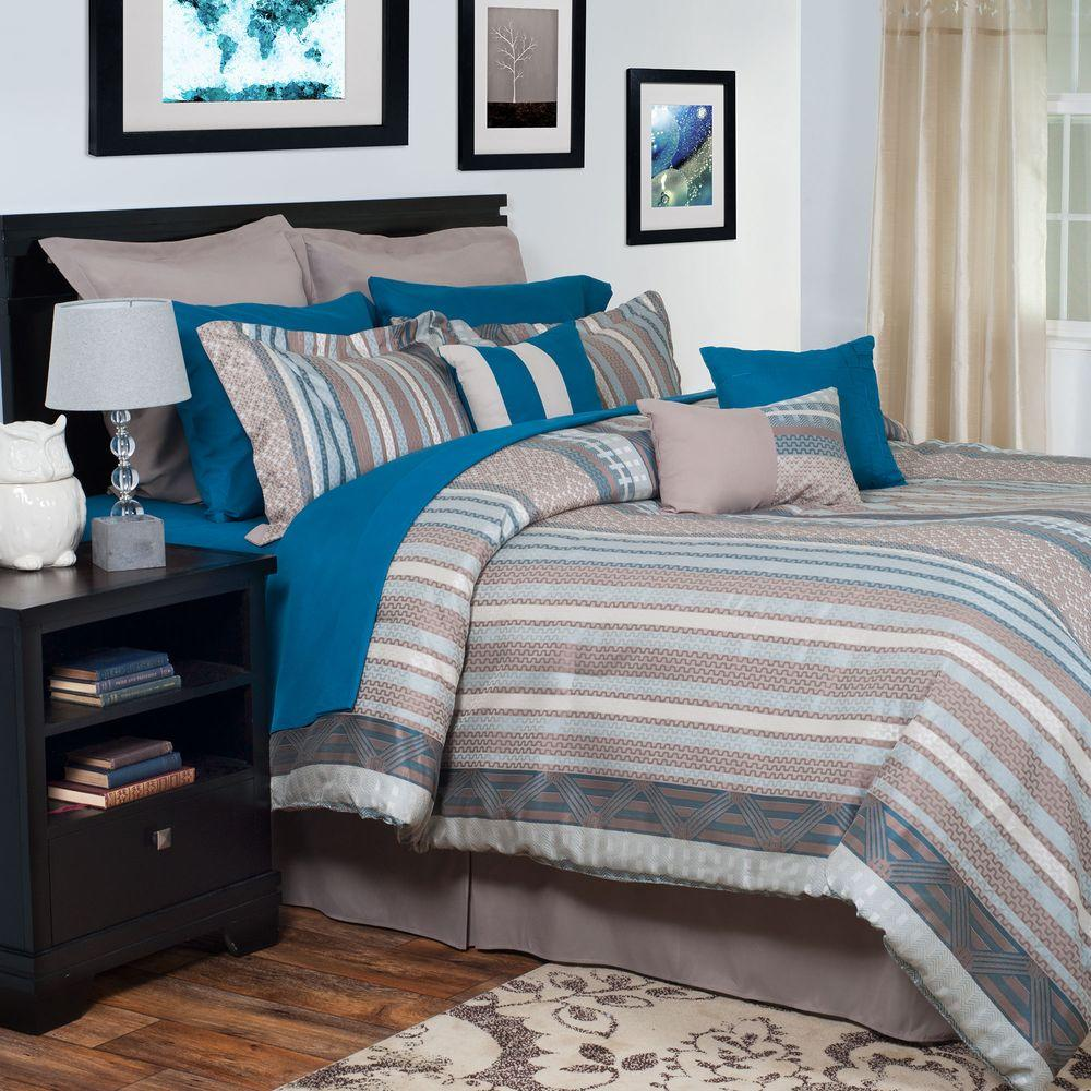 Lavish Home Riley Blue 13-Piece Queen Embroidered Comforter Set-66-23-Q - The