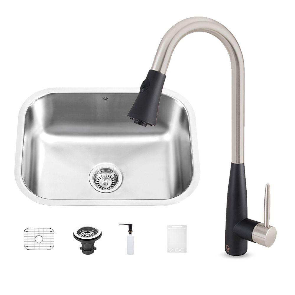 Vigo All In One Undermount Stainless Steel 23 In 0 Hole Kitchen Sink And Milburn Stainless