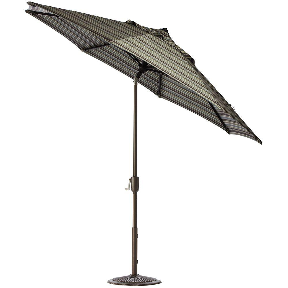 Home Decorators Collection 6 ft. Auto-Tilt Patio Umbrella in Brannon Whisper Sunbrella with Bronze Frame