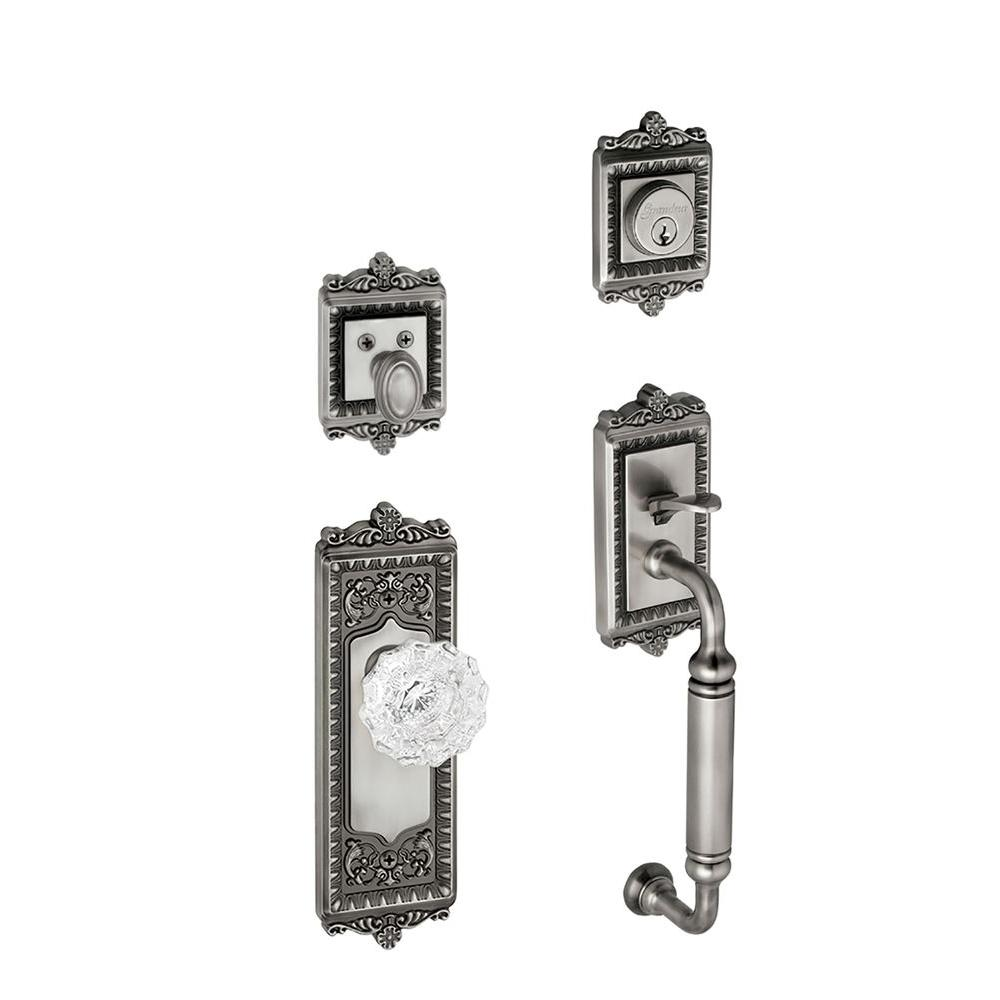 Windsor Single Cylinder Antique Pewter C-Grip Handleset with Versailles Knob