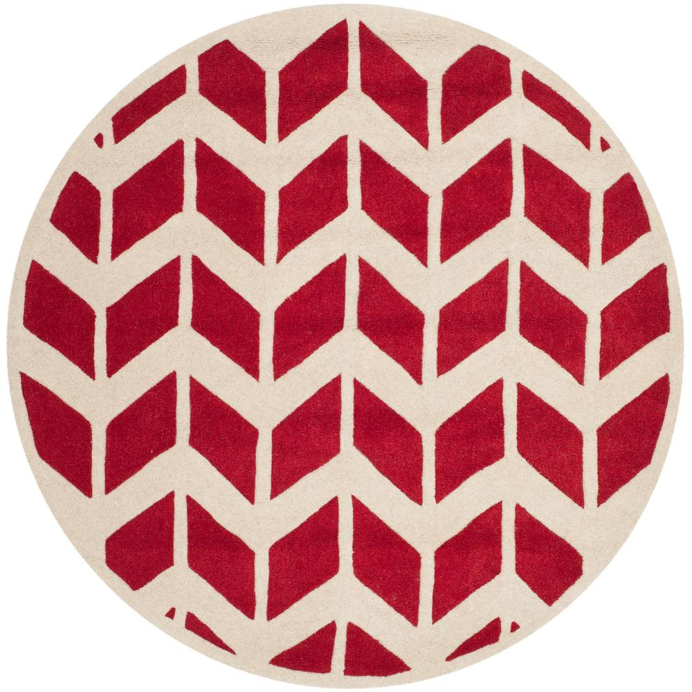 Chatham Red/Ivory 5 ft. x 5 ft. Round Area Rug