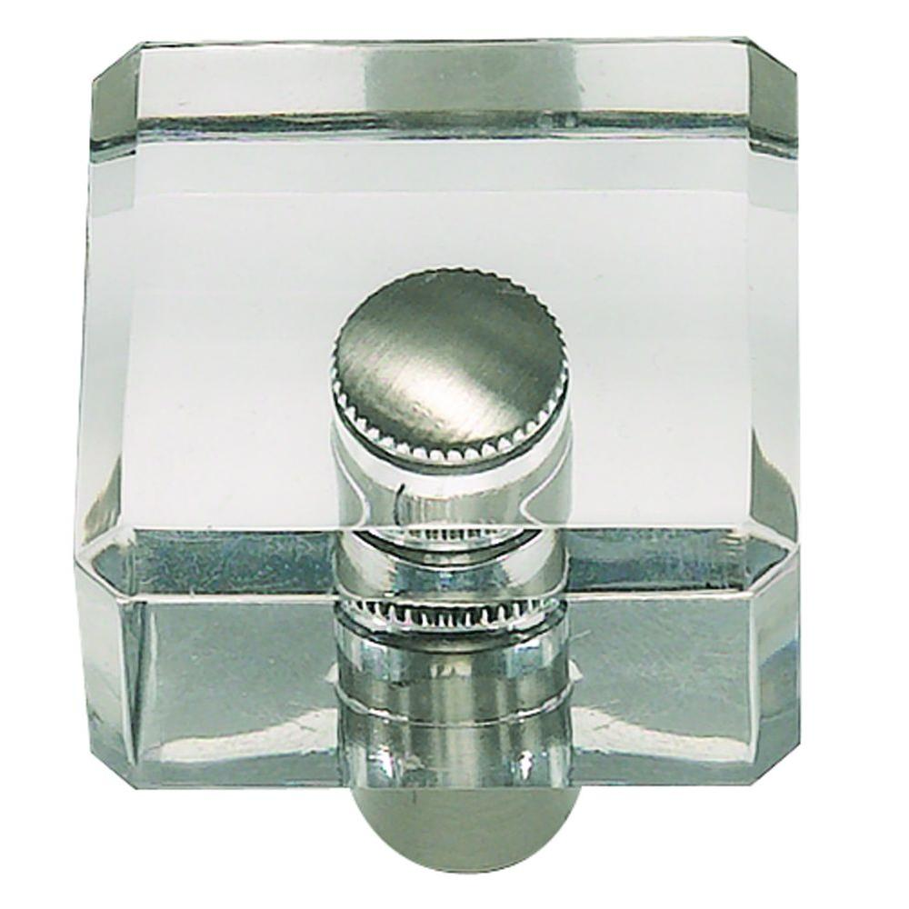 1-1/4 in. Optimism Collection Lucite & Brushed Nickel Square Cabinet Knob
