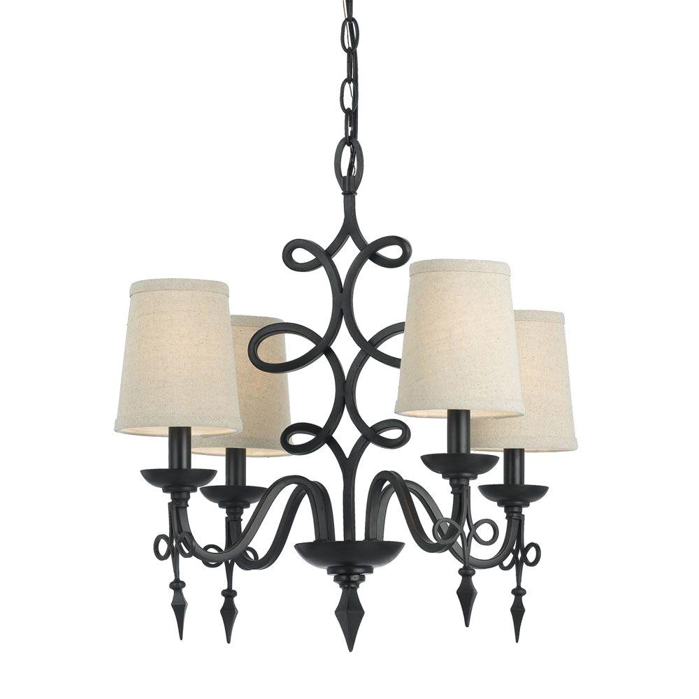 Rhythm 4-Light Oil-Rubbed Bronze Mini Chandelier with White Shade