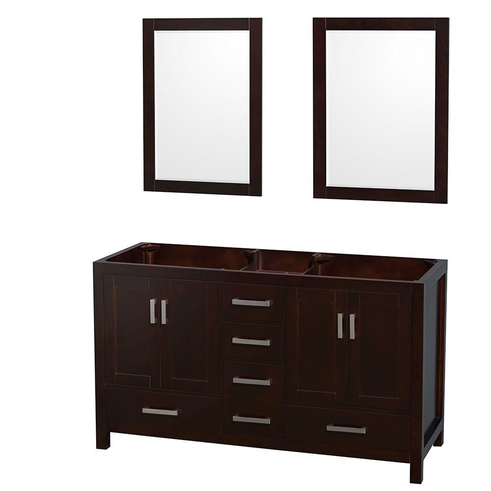 Sheffield 59 in. Double Vanity Cabinet with 24 in. Mirrors in