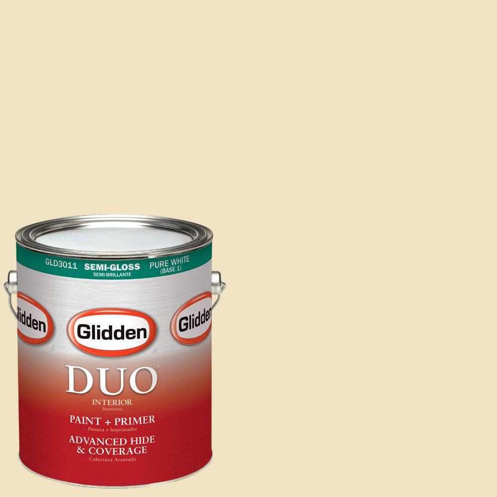 Interior Paint, Exterior Paint & Paint Samples: Glidden DUO Paint 1-gal. #HDGY35 Boston Cream Semi-Gloss Latex Interior Paint with Primer HDGY35-01S