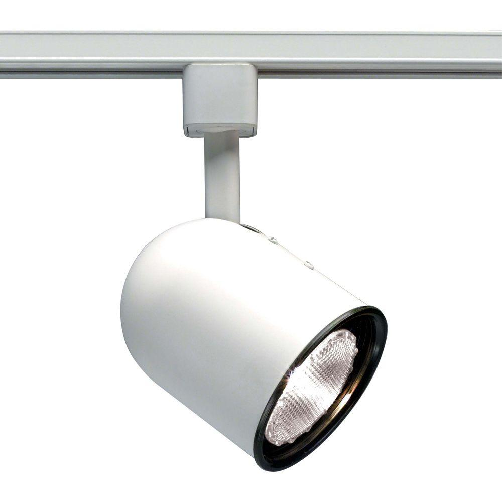 Glomar 1-Light PAR30 White Short Bullet Cylinder Track Lighting Head