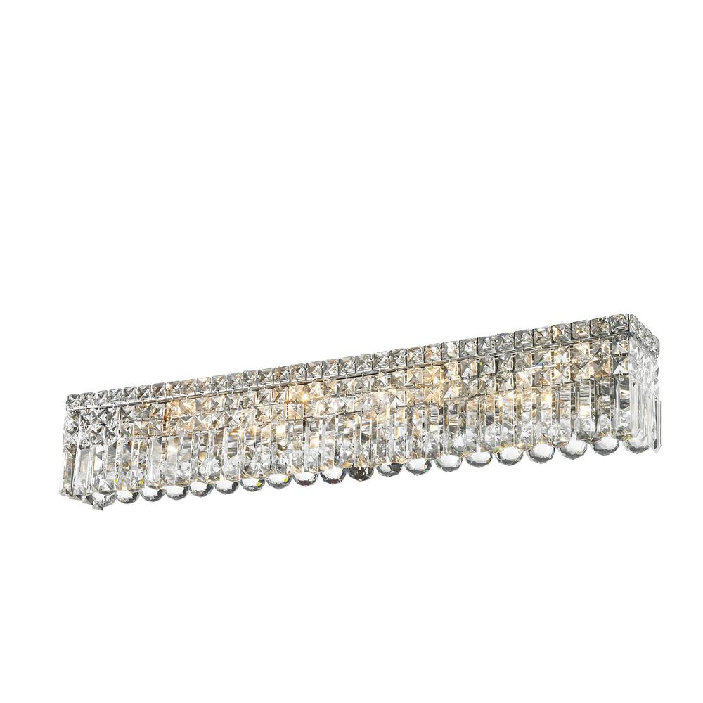 Chrome Crystal Vanity Lights : Worldwide Lighting Cascade 8-Light Chrome Vanity Light with Clear Crystal-W23532C36 - The Home Depot