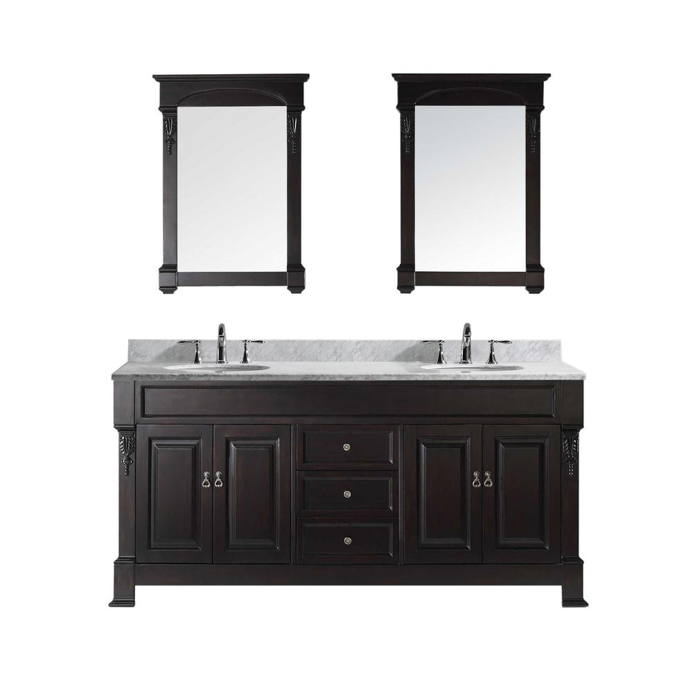 Virtu USA Huntshire 72 in. W x 22.05 in. D x 33.86 in. H Dark Walnut Vanity With Marble Vanity Top With White Basin and Mirror