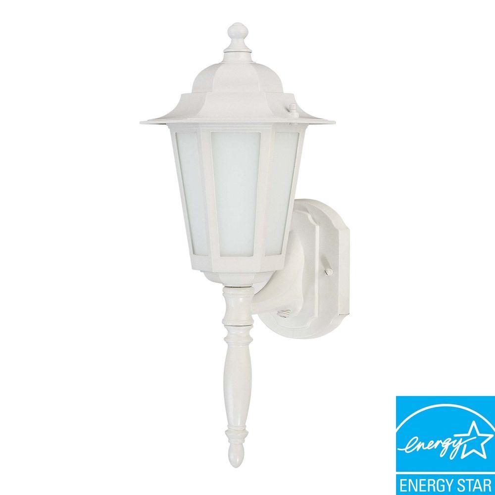 Green Matters 1-Light Outdoor White 13-Watt CFL Wall Lantern with Satin White Glass