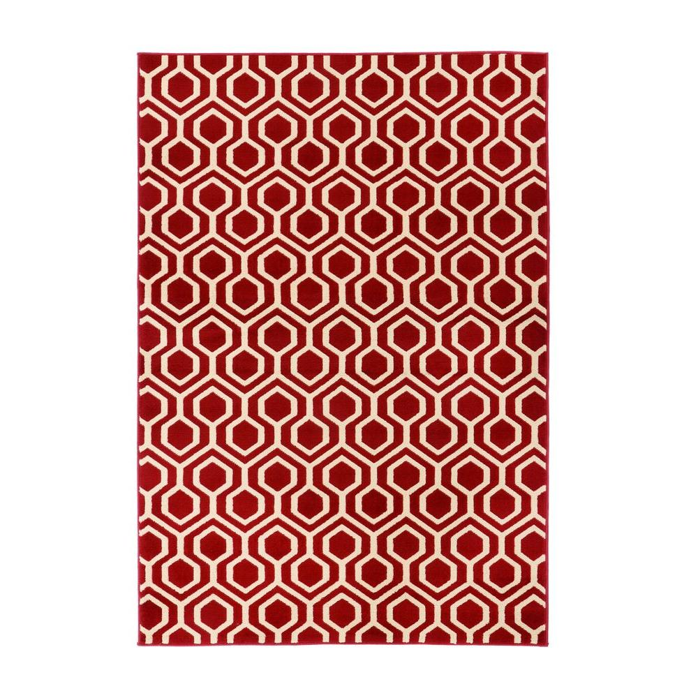 Home Decorators Collection Langley Geo Red 1 ft. 10 in. x