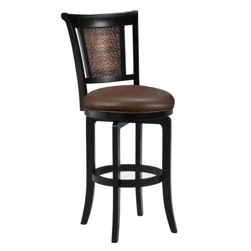 Hillsdale furniture cecily 26 5 in black swivel cushioned bar stool 4887 826 the home depot Home depot wood bar stools