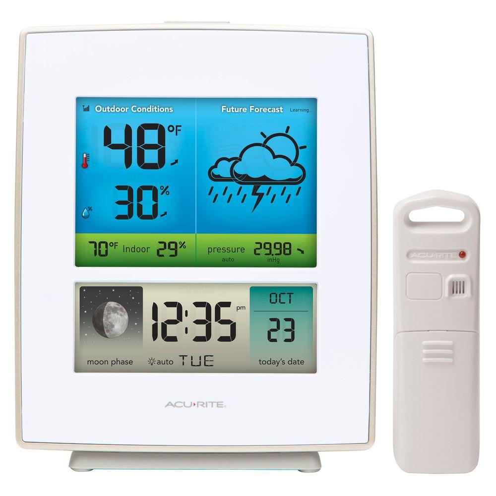 AcuRite Weather Gauges & Instruments Weather Forecaster with Color Display White Case 02031RM