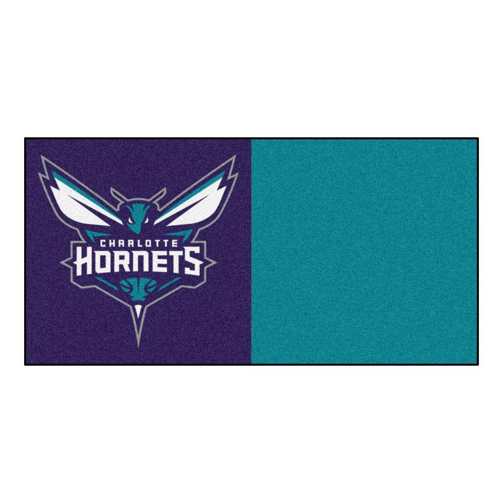 FANMATS NBA Charlotte Hornets Blue and Green Pattern 18 in. x 18 in. Carpet Tile (20 Tiles/Case)