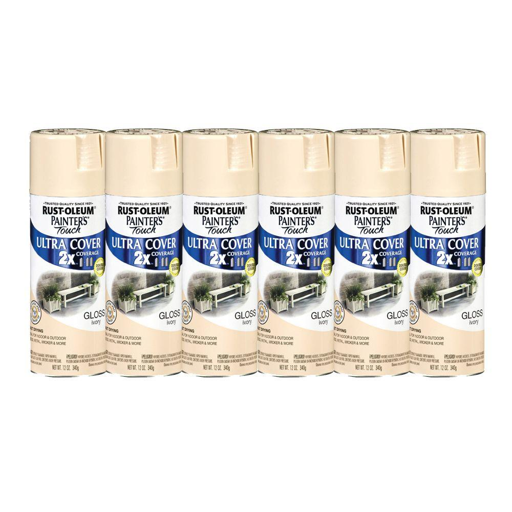 Painter's Touch 12 oz. Ivory Gloss Spray Paint (6-Pack)-DISCONTINUED