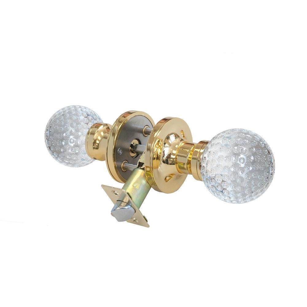 Golf Ball Crystal Brass Privacy Door Knob with LED Mixing Lighting
