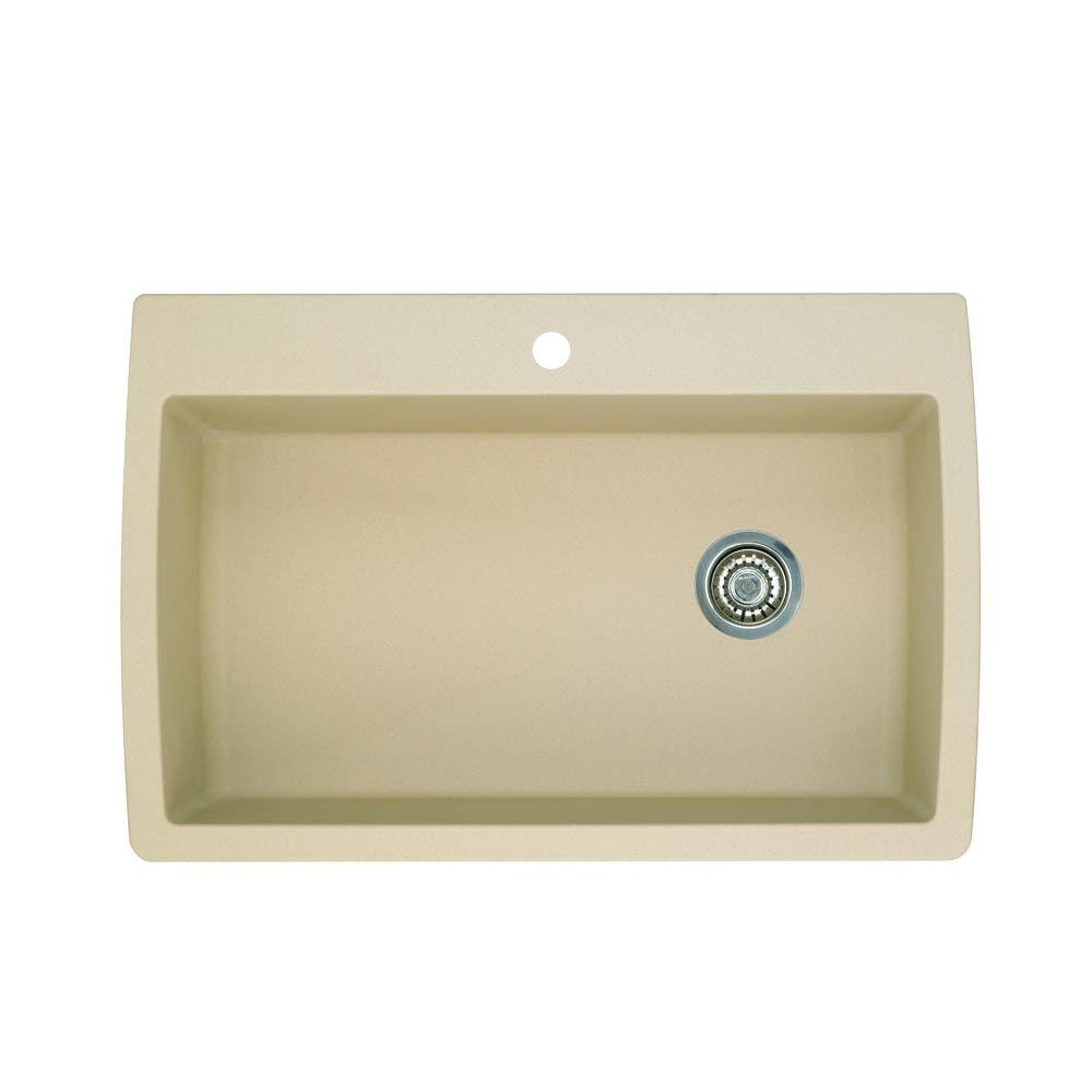 ... Composite 33 in. 1-Hole Super Single Bowl Kitchen Sink in Biscotti