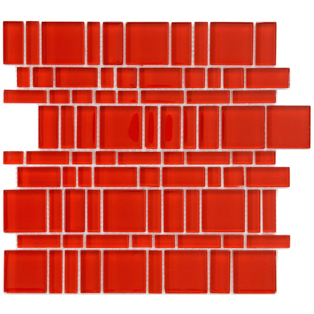 Merola Tile Tessera Magic Carnelian 11-3/4 in. x 11-3/4 in. x